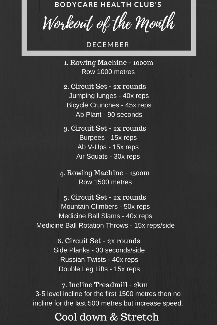 Workout Of The Month And A Bit December Bodycare Health Club Circuit Style Give This Go When Youre Stuck For Ideas Guaranteed To Get Your Sweat Up Getting One Before Hits So You Can Yourself Used